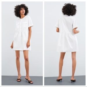 NWT. Zara White 100% Cotton Poplin Dress. Size XS.